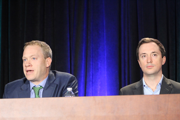 Damon Box, managing director of Simmons Energy (left), and Juan Diego Vargas, director at First Reserve, speak on a panel at A&D Strategies and Opportunities.